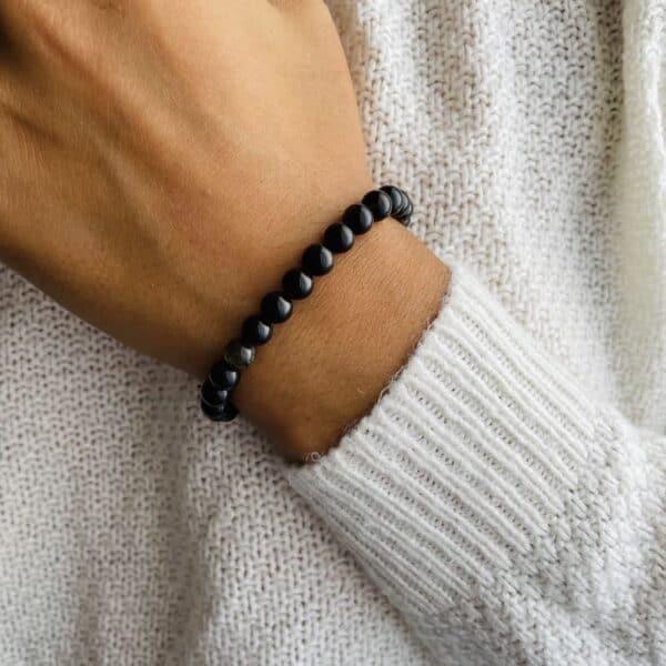 Bracelet Elastic'perles poignet obsidienne