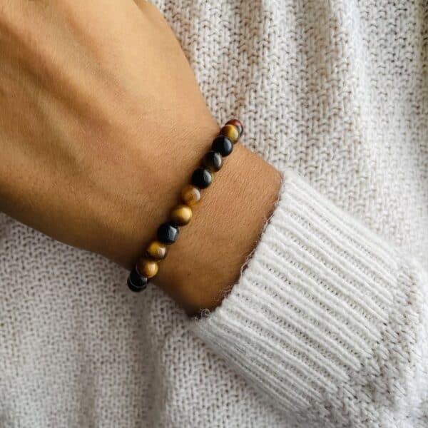 Bracelet Elastic'perles poignet oeil de tigre