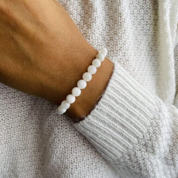 Bracelet Elastic'perles poignet pierre de lune