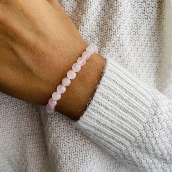 Bracelet Elastic'perles poignet quartz rose