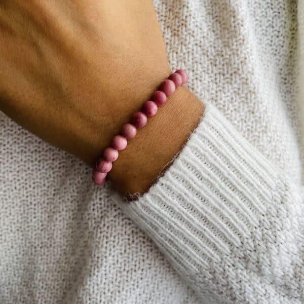 Bracelet Elastic'perles poignet rhodochrosite
