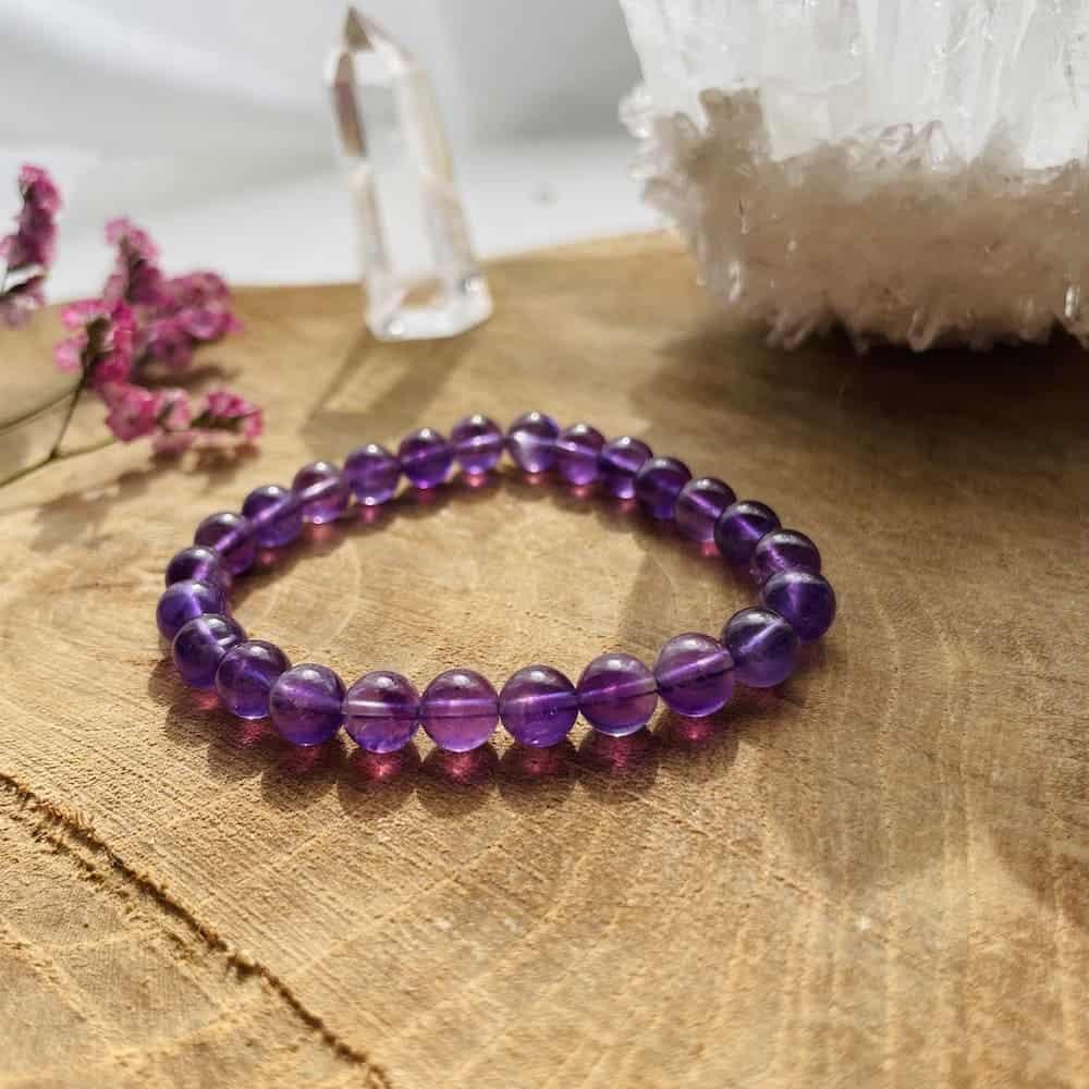 Bracelet Elastic'perles zoom améthyste