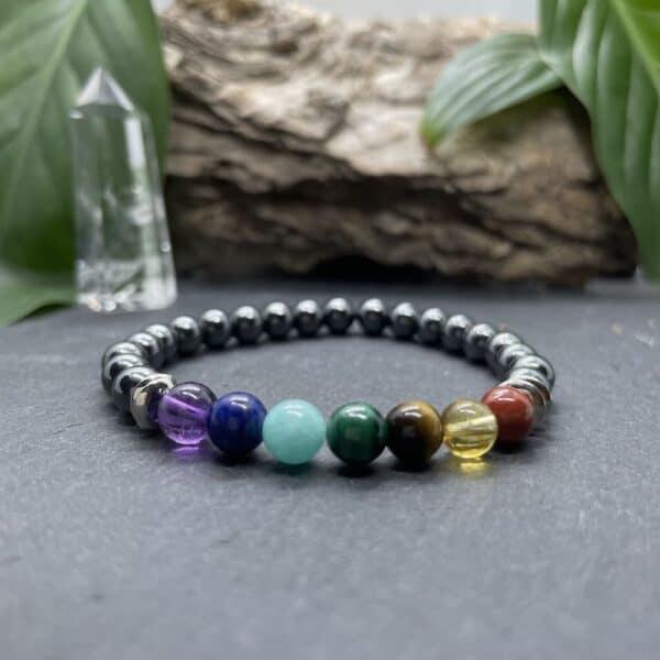 Breacelet Elastic'perles fond noir 7 chakras hematite