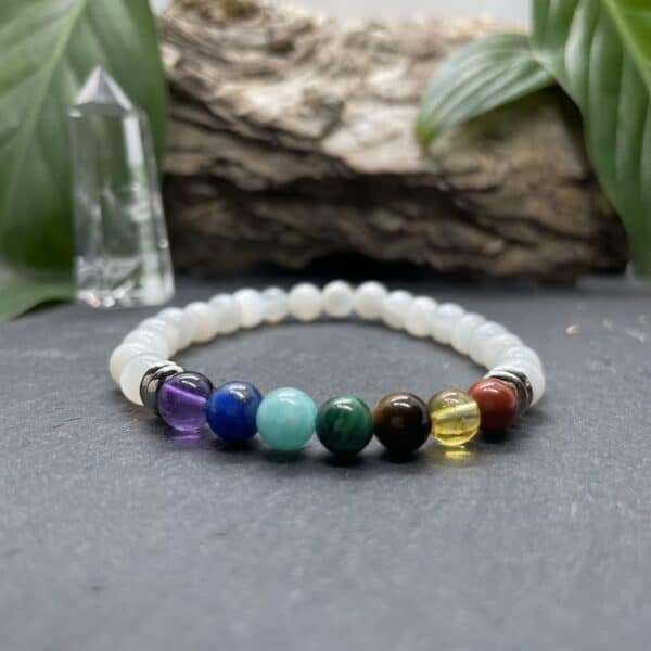 Breacelet Elastic'perles fond noir 7 chakras pierre de lune