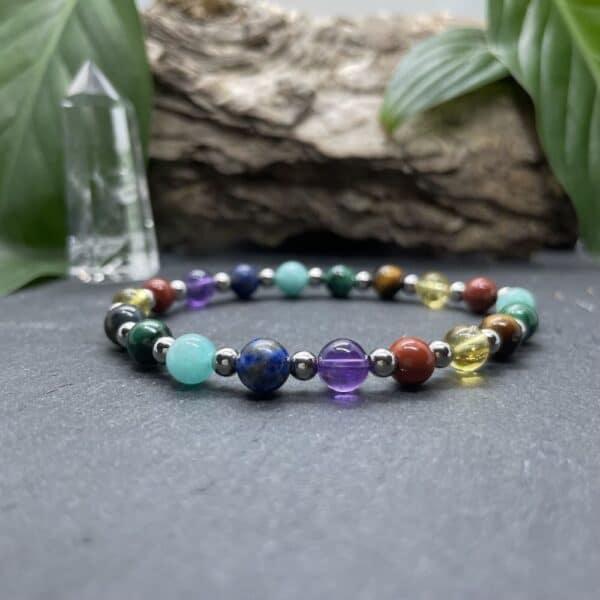Breacelet Elastic'perles fond noir 7 chakras rainbow 2