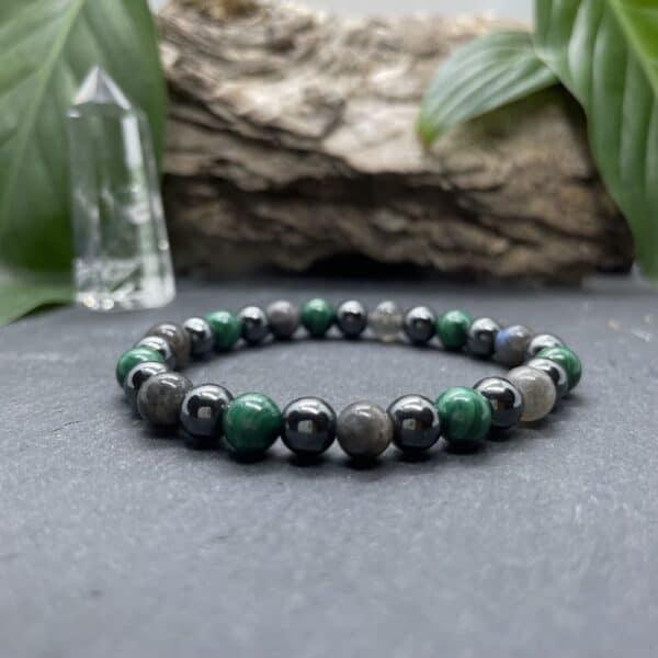 Breacelet Elastic'perles fond noir alignement
