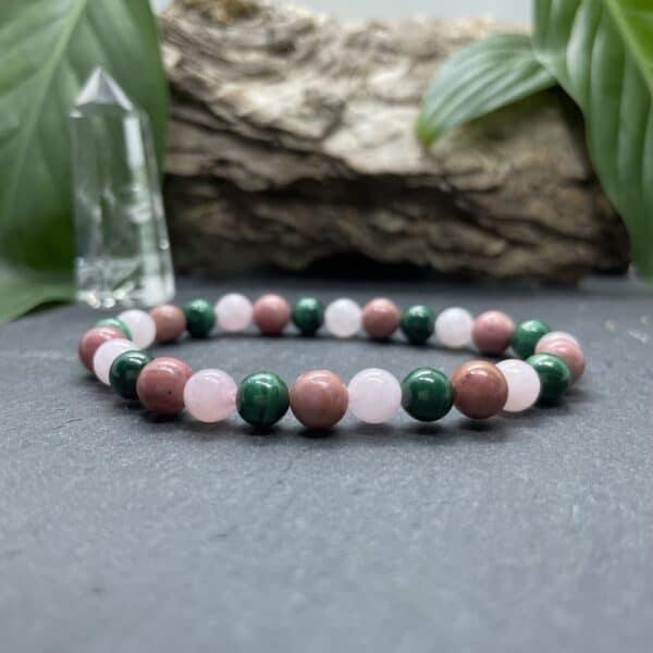 Breacelet Elastic'perles fond noir chakra coeur