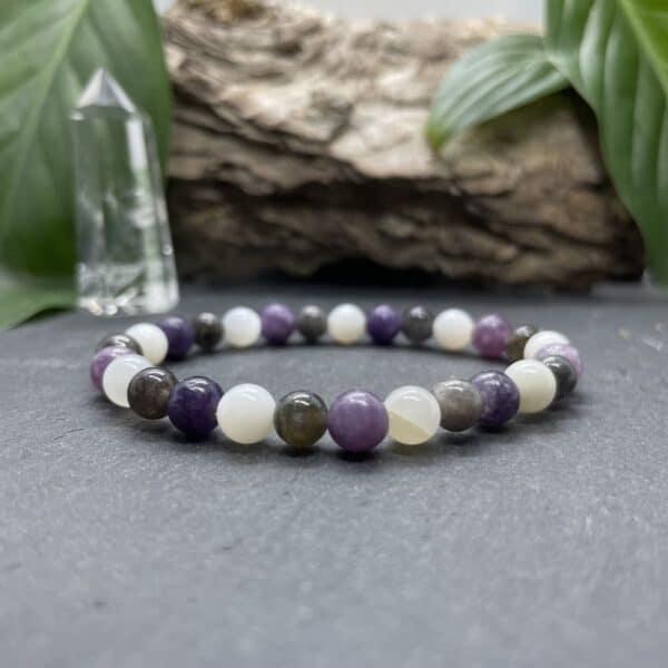 Breacelet Elastic'perles fond noir chakra coronal