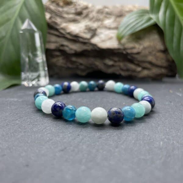 Breacelet Elastic'perles fond noir chakra gorge