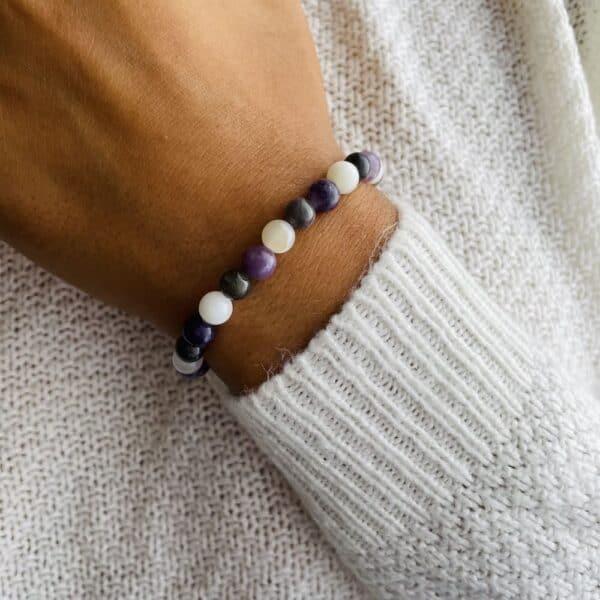 Breacelet Elastic'perles poignet chakra coronal