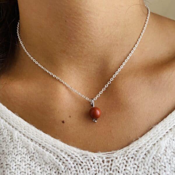 Collier Uniperle argent jaspe rouge