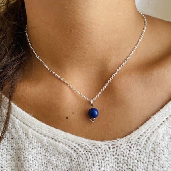Collier Uniperle argent lapis-lazuli