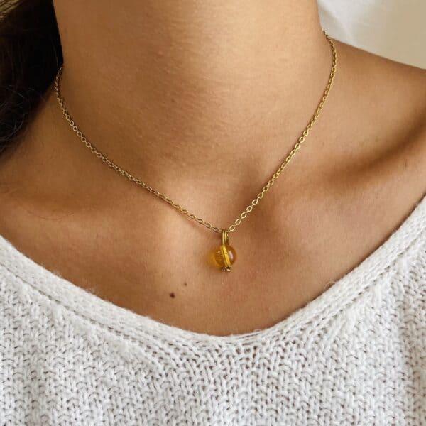 Collier Uniperle doré citrine