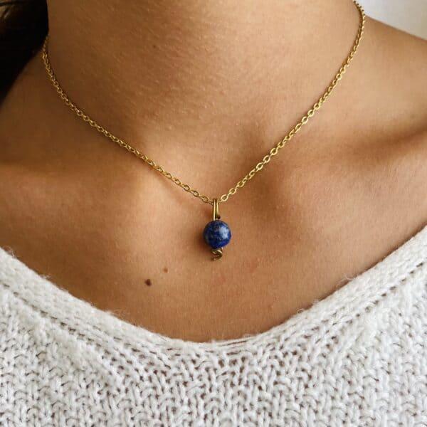 Collier Uniperle doré lapis-lazuli