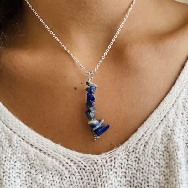 Collier chips vertical argent lapis-lazuli