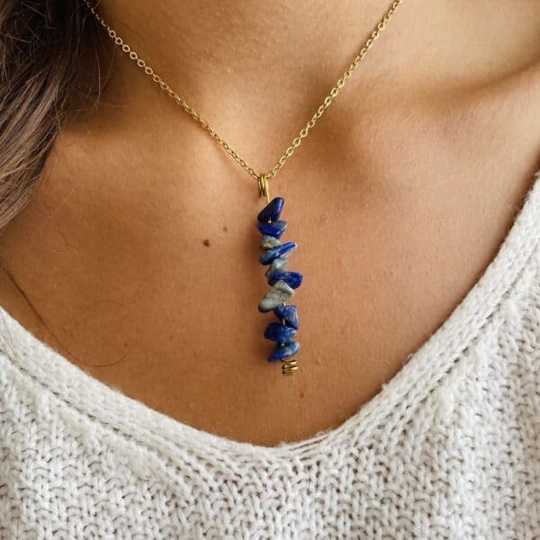 Collier chips vertical or lapis-lazuli