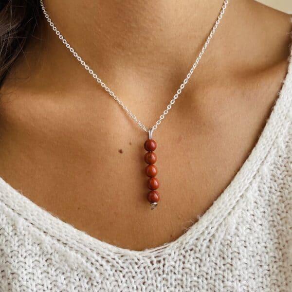Collier penta vertical argent jaspe rouge