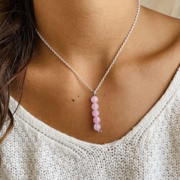 Collier penta vertical argent quartz rose