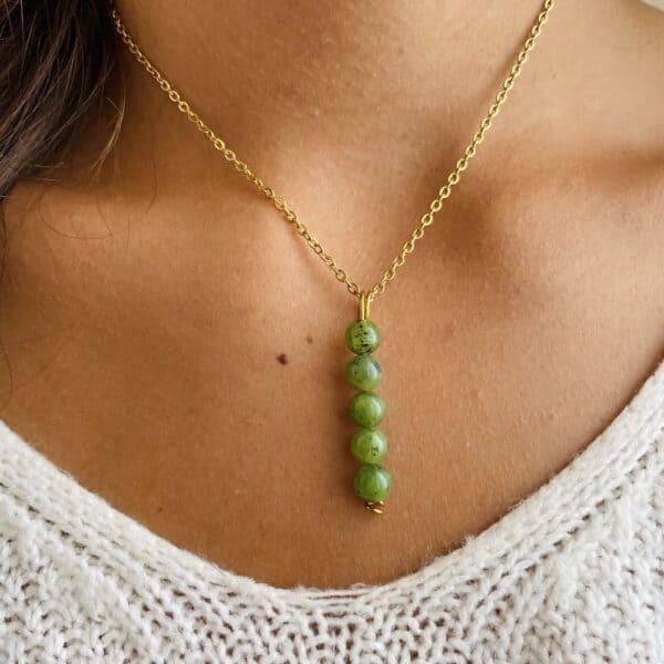 Collier penta vertical or jade verte