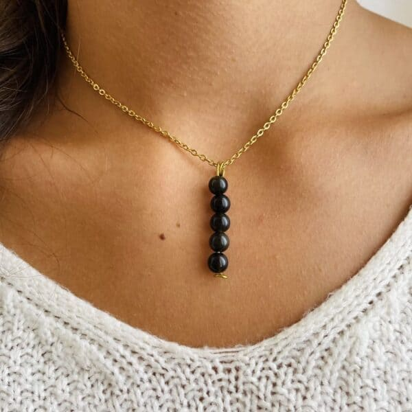 Collier penta vertical or obsidienne