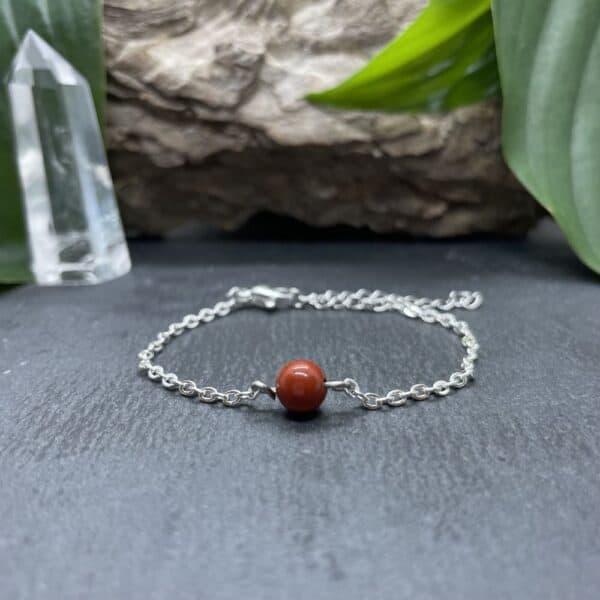 bracelet uniperle porté argent jaspe rouge
