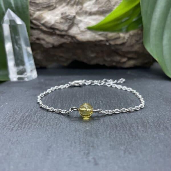 bracelet uniperle porté argent citrine