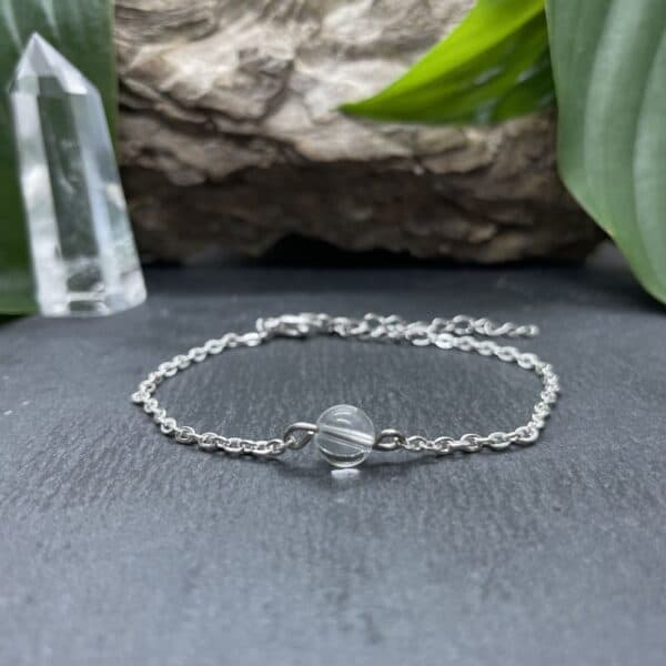 bracelet uniperle porté argent quartz