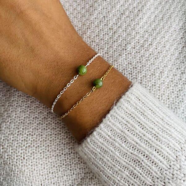 bracelet uniperle porté double jade verte