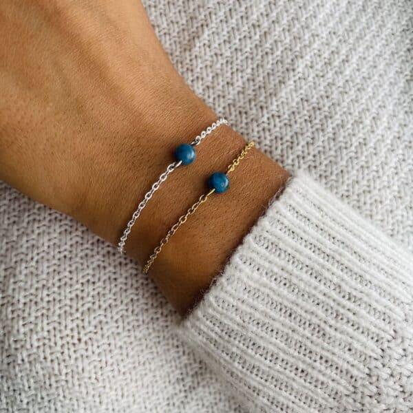 bracelet uniperle porté double apatite