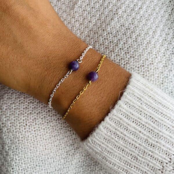 bracelet uniperle porté double lépidolite