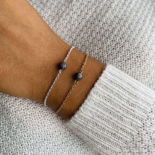 bracelet uniperle porté double labradorite