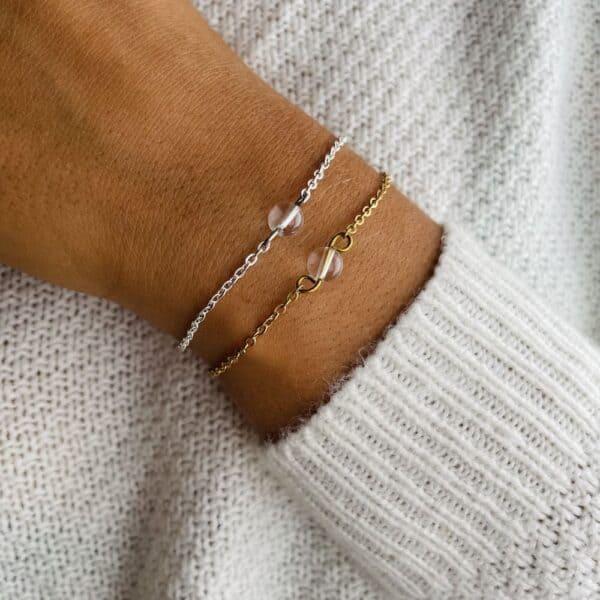 bracelet uniperle porté double quartz