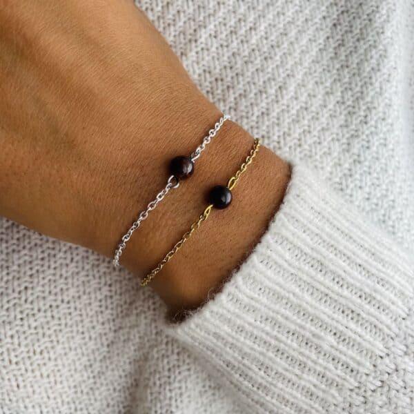 bracelet uniperle porté double oeil de taureau