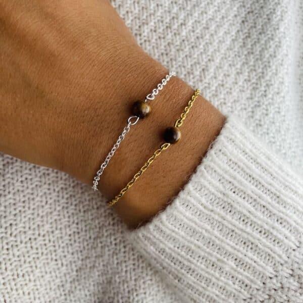 bracelet uniperle porté double oeil de tigre