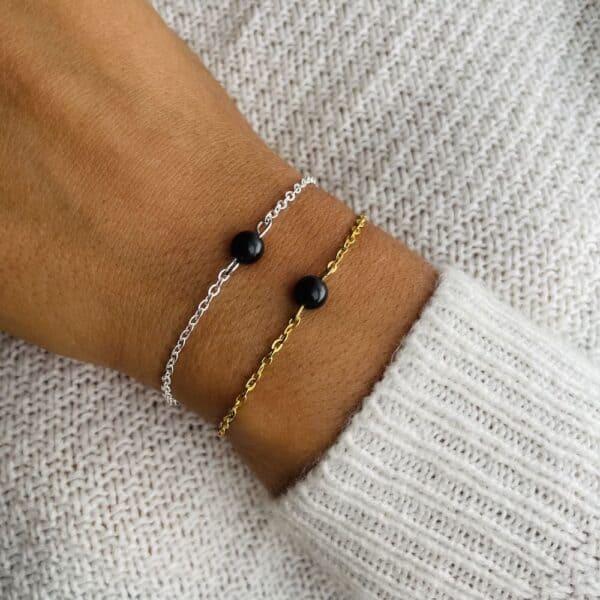bracelet uniperle porté double obsidienne