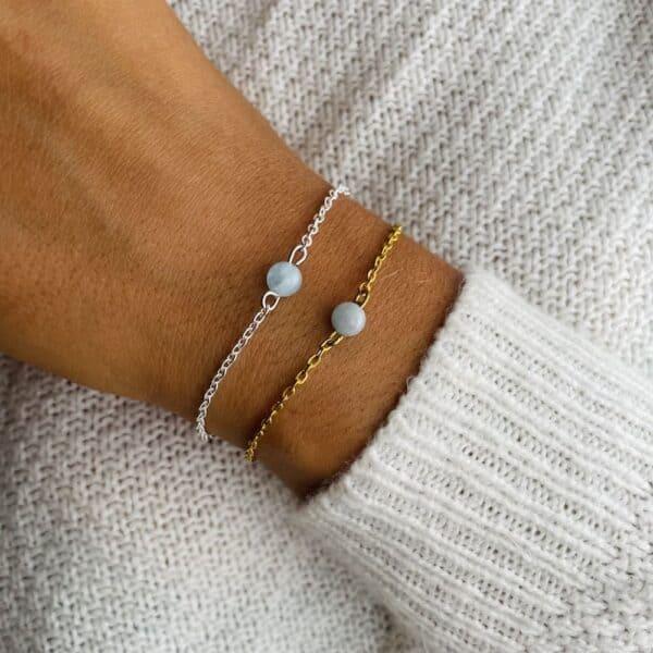 bracelet uniperle porté double aigue-marine