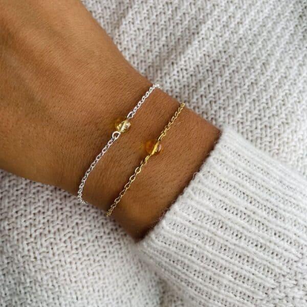 bracelet uniperle porté double citrine