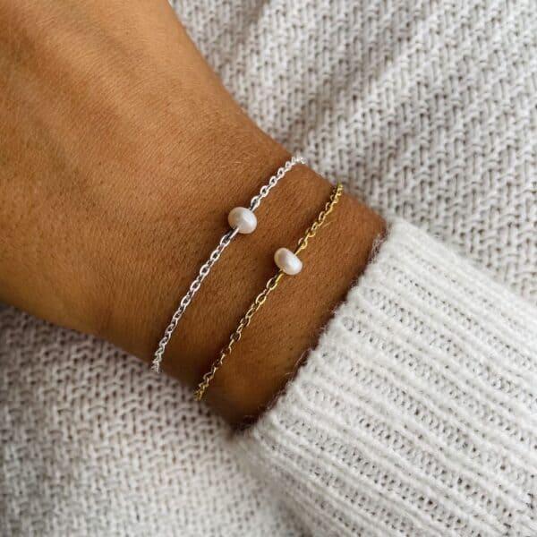 bracelet uniperle porté double perle eau douce