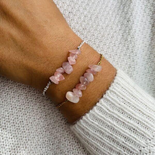 bracelet magic porté double quartz rose