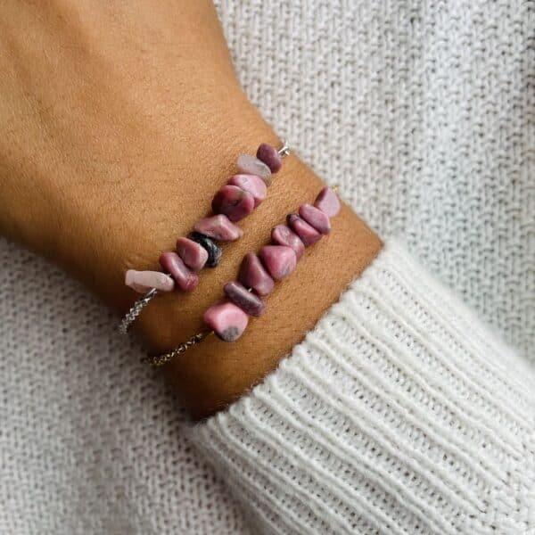 bracelet magic porté double rhodochrosite