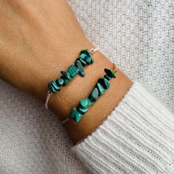 bracelet magic porté double malachite