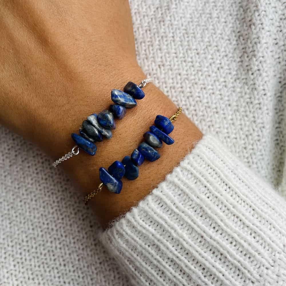 bracelet magic porté double lapis-lazuli