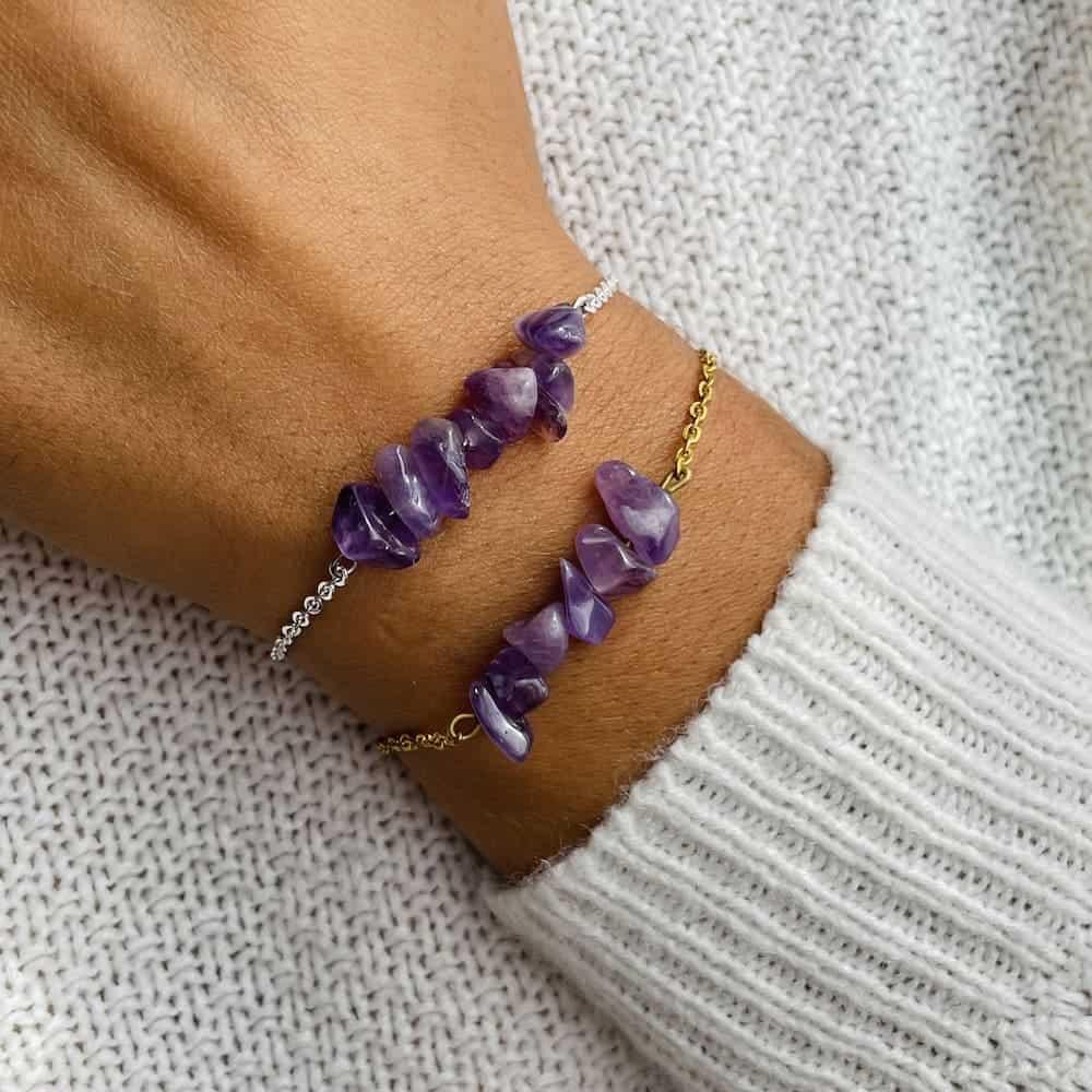 bracelet magic porté double améthyste