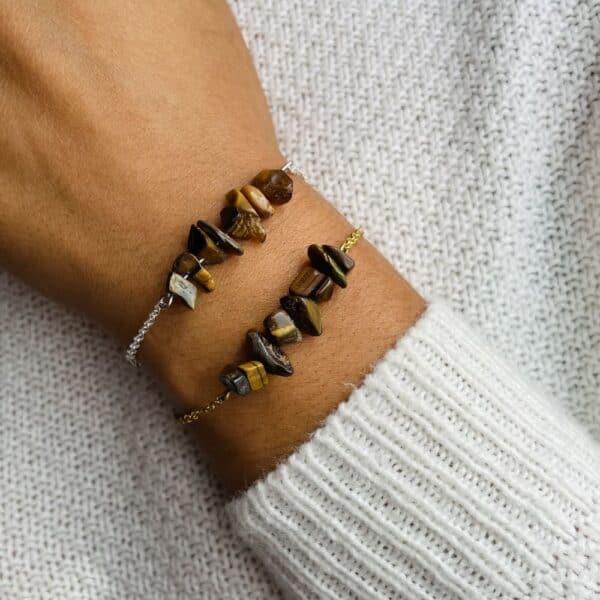 bracelet magic porté double oeil de tigre