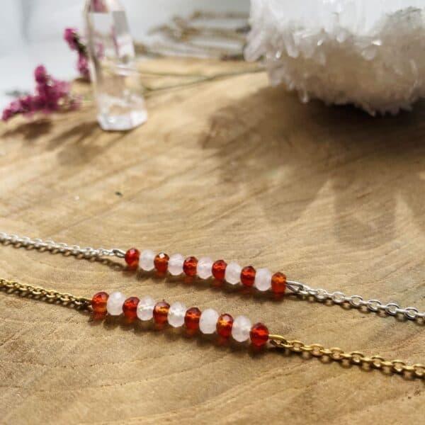 agate rouge et quartz rose zoom