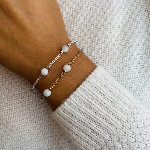 bracelet anthéa aigue-marine 6mm