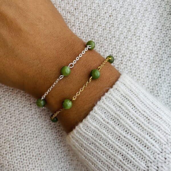 bracelet anthéa jade verte 6mm