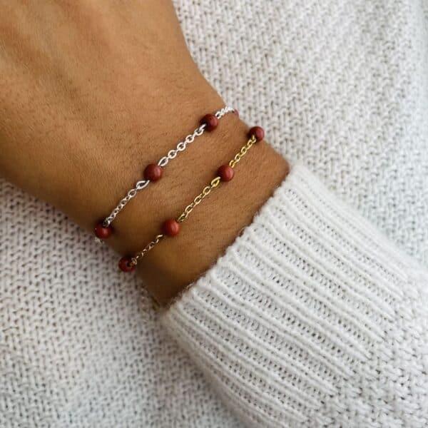 bracelet anthéa jaspe rouge 4mm