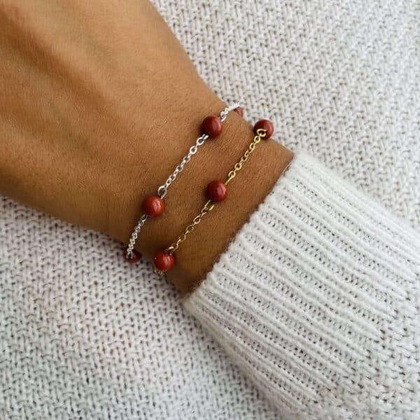bracelet anthéa jaspe rouge 6mm