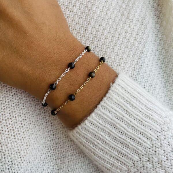 bracelet anthéa obsidienne 4mm